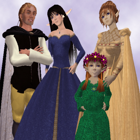 Mistletoe's family (l-r): Archimides, Mistletoe, Petal, and Clover.
