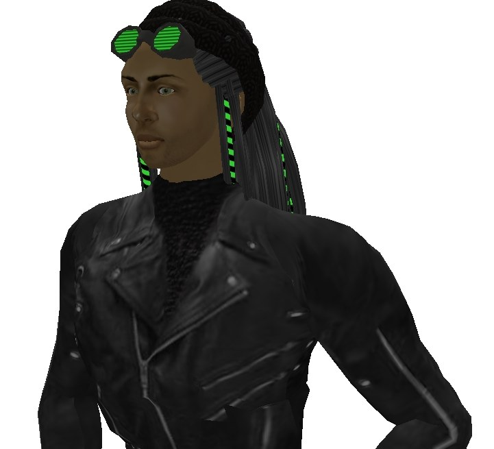 """Argon"" hair from #1 DV8; full leather outfit from #8 Bloodlines"