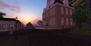 Sunrise breaks by Town Hall.